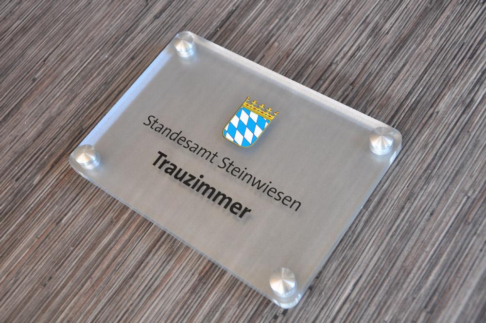 Acrylglas Schild Trauzimmer Steinwiesen