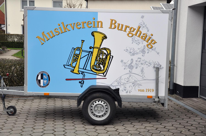 Anhänger Beschriftung des Musikvereins Burghaig